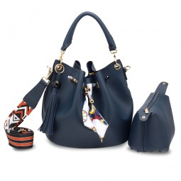 Navy Drawstring Bucket Bag