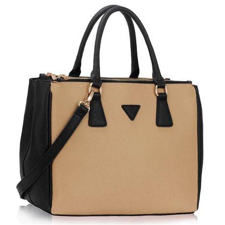 Elegantní kabelka Ashley Triangle Nude-černá
