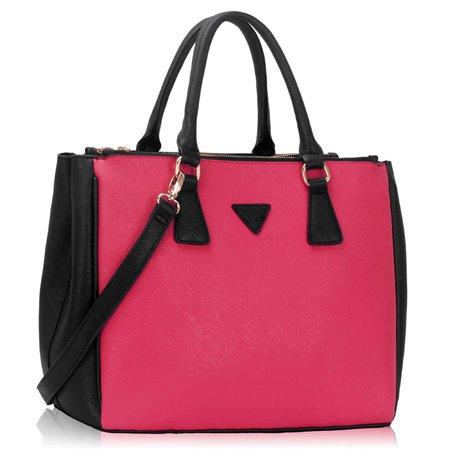 Elegantní kabelka Ashley Triangle Černo-růžová