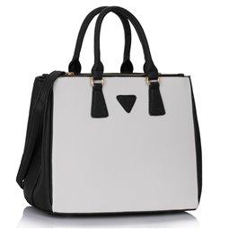 Elegantní kabelka Ashley Triangle 2 Černo-bílá