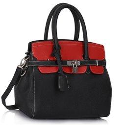 Elegantní kabelka Ashley Padlock Double Černo-červená