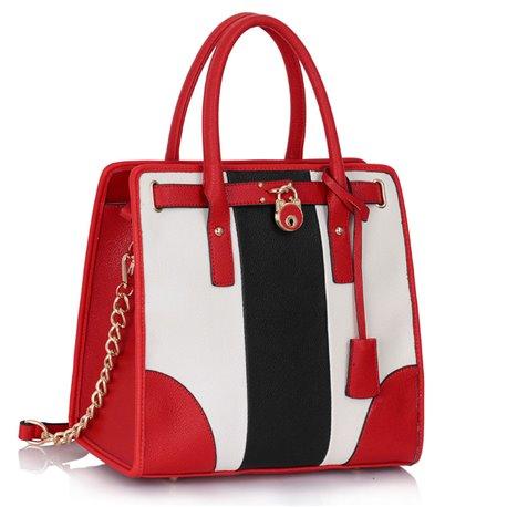 Dámská kabelka Ashley Chain Černo-bílo-červená