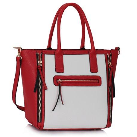 Dámská kabelka Ashley Trio Zip Bílo-červená