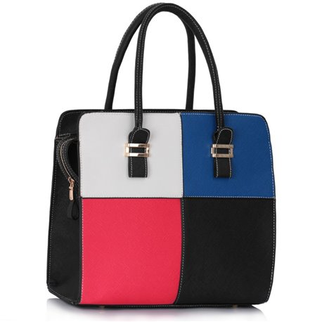 Dámská kabelka Ashley Multi Squares Černá s bílou, modrou, růžovou