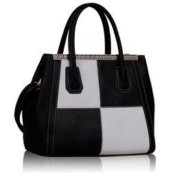 Dámská kabelka Ashley Ornament Square 2 Černo-bílá