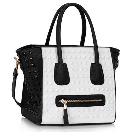 Dámská kabelka Ashley Spotted Bílo-černá