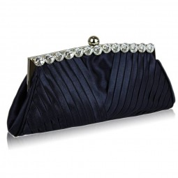 Černá Satin Clutch With Crystal Decoration