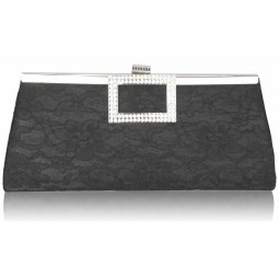 Black Elegant Floral Satin Lace Clutch Bag