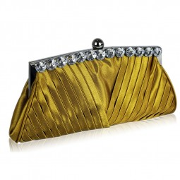 Gold Satin Clutch With Crystal Decoration