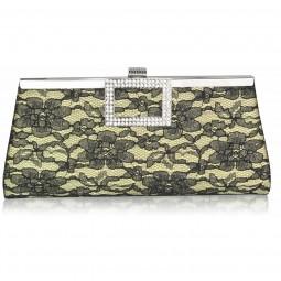 Gold Elegant Floral Satin Lace Clutch Bag
