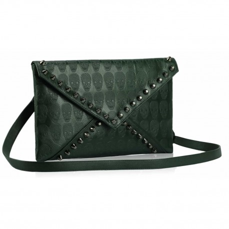 Green Skull Flapover Clutch Purse