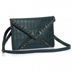 Teal Skull Flapover Clutch Purse