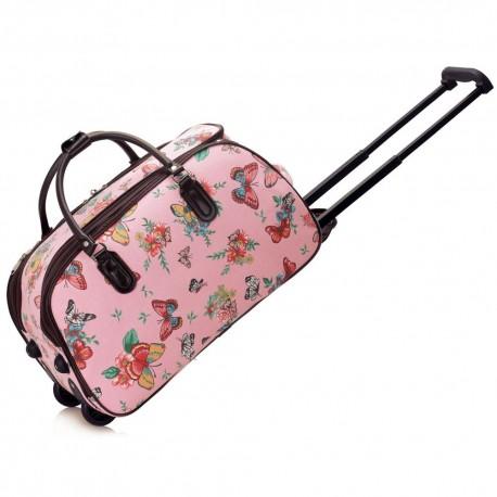 Cestovní taška s kolečky Ashley Butterfly Pink