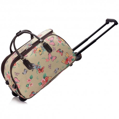 Cestovní taška s kolečky Ashley Butterfly Beige